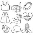 sport equipment hand draw doodles vector image