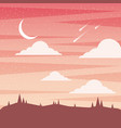 sunset landscape moon clouds and fall asteroid vector image
