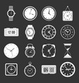 time and clock icons set grey vector image vector image