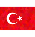 Turkey flag on unusual red triangles background vector image vector image