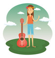 woman hippie with guitar lifestyle character vector image vector image