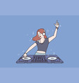 working as dj in club concept vector image
