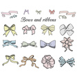 Hand drawn ribbons and bows set A collection of vector image