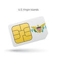 US Virgin Islands mobile phone sim card with flag vector image