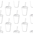 Seamless pattern with hand drawn cup of milk shake vector image