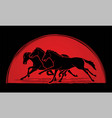 3 horses running cartoon graphic vector image vector image