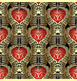 3d gold greek style love seamless pattern vector image