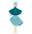 a model dressed up for fashion show in blue vector image vector image