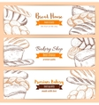 Bakery and bread house sketch banners set vector image vector image