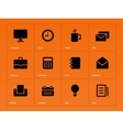 Business icons on orange background vector image vector image