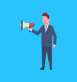 business man hold megaphone leader businessman vector image vector image