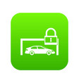car and padlock icon digital green vector image vector image