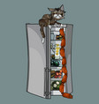 cartoon cat stole sausages from an open vector image
