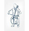 cello man sketch line design outline vector image vector image