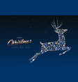christmas and new year copper deer decoration card vector image vector image