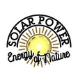 Color vintage solar panels emblem