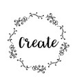 create text flower wreath hand drawn laurel vector image