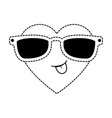 cute heart with sunglasses kawaii character vector image vector image