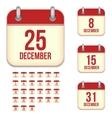 December calendar icons vector image vector image