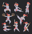 different poses of ninja fighter in cloth vector image