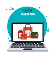 digital marketing laptop internet business vector image vector image
