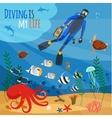 Diver underwater vector image vector image