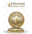 ethereum coin realistic cryptocurrency vector image vector image