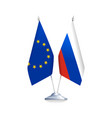 flags of european union and russia vector image