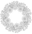 floral doodles wreath in entangle ornamental vector image