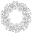 Floral doodles wreath in zentangle ornamental vector image