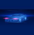 futuristic sport car neon concept glowing vector image