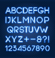 glowing blue neon lights alphabet and numbers vector image vector image