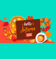 hello autumn 2020 lettering with fall elements vector image