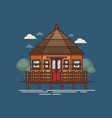 house standing or floating on water vector image vector image
