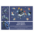 isometric hacking attack composition vector image