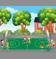 kids playing basketball scene vector image vector image