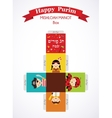 kids wearing costumes from Purim story template vector image vector image