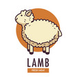 lamb fresh meat promotional emblem with fluffy vector image vector image