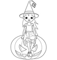 Little Halloween Witch coloring page vector image vector image