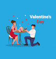 man kneeling holding engagement ring proposing to vector image