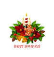 merry christmas wish wreath candle icon vector image vector image