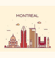 montreal city skyline quebec canada linear vector image