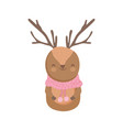 reindeer with scarf celebration merry christmas vector image