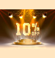 scene golden 10 sale off text banner night sign vector image vector image