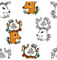 seamless pattern deer and christmas animals new vector image vector image