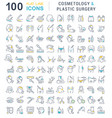 set line icons cosmetology and plastic surgery vector image