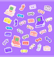 sets 80s stickers computers phones cassettes vector image