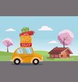 spring road trip on small retro yellow car vector image
