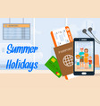 summer holidays lettering on horizontal banner vector image vector image