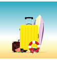 travel summer with surfboard vector image